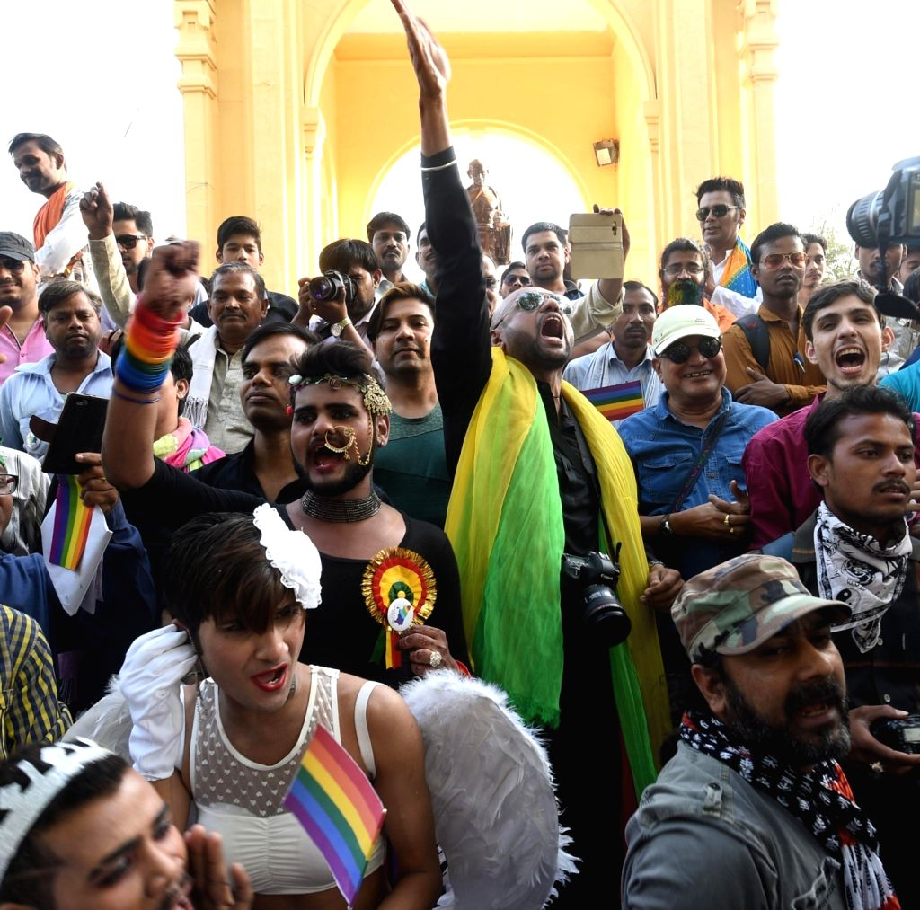 LGBT supporters participate in a Queer Parade in Lucknow on April 9, 2017.