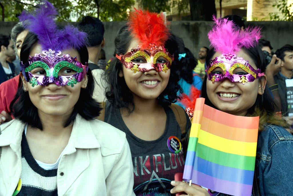 LGBT supporters participate in Queer Parade in New Delhi, on Nov 27, 2016.