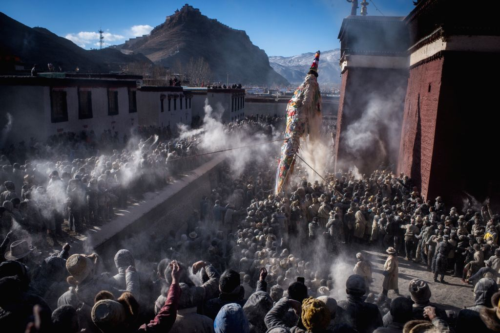 LHASA, March 12, 2017 - Photo taken on March 12, 2017 shows the site of a traditional activity praying for prosperous and good harvest in Gyangze, southwest China's Tibet Autonomous Region.