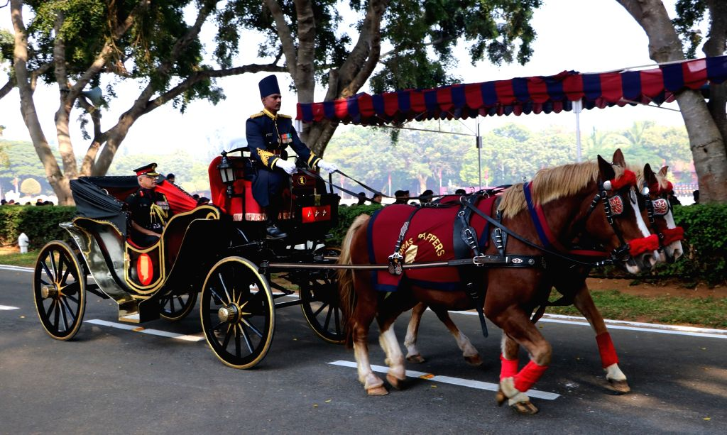 Lieutenant General SP Nawathe arrives to review the ceremonial parade of Madras Sappers Regiment at MEG Centre on horse cart  in Bengaluru on Oct 21, 2016.