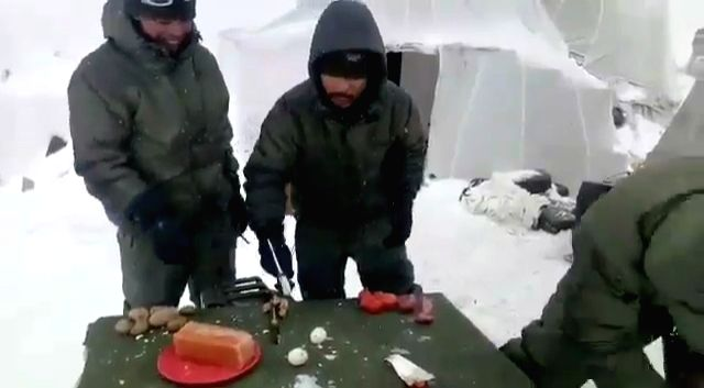 Life is tough at Siachen where temperature could range from minus 40 to minus 70 degrees Celsius, but a video showing soldiers posted there breaking eggs with hammer has won hearts.