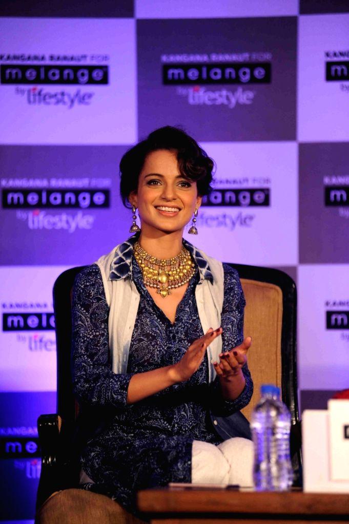 Lifestyle International announces actress Kangana Ranaut as the new Brand Ambassador for their contemporary ethnic wear brand Melange in Mumbai on March 22, 2016. - Kangana Ranaut