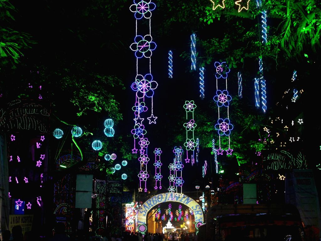 Lighting at a Puja Pandal on the occassion of 'Kali Puja' in Kolkata on Oct 27, 2019.