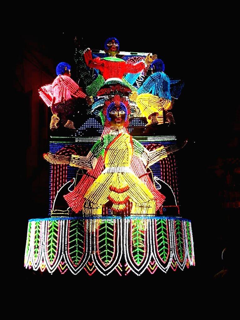 Lighting outside a Durga Puja pandal in Kolkata on Oct 7, 2019.