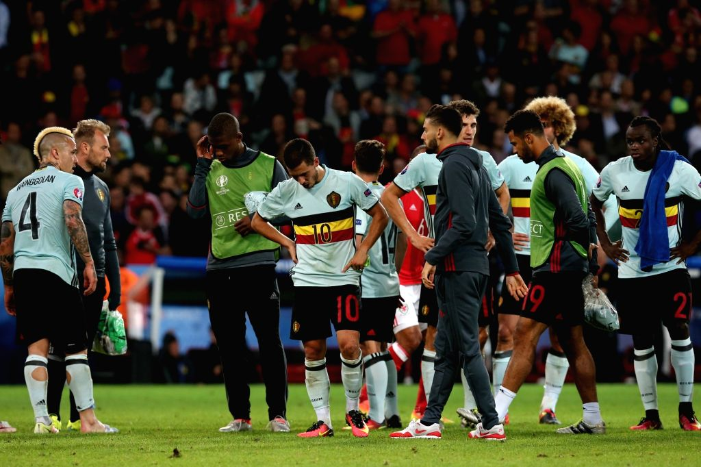 LILLE, July 2, 2016 - Players of Belgium react after the Euro 2016 quarterfinal match between Belgium and Wales in Lille, France, July 1, 2016. Wales won 3-1.