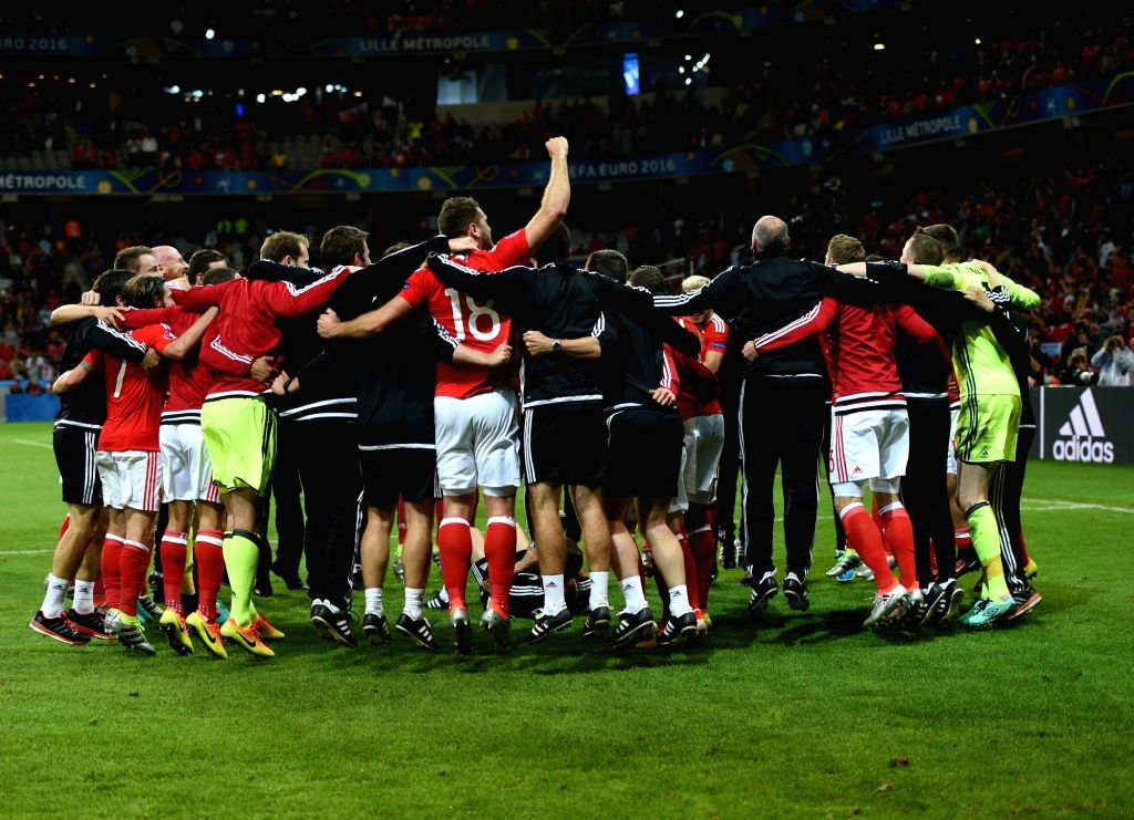 LILLE, July 2, 2016 - Players of Wales celebrate victory after the Euro 2016 quarterfinal match between Belgium and Wales in Lille, France, July 1, 2016. Wales won 3-1.