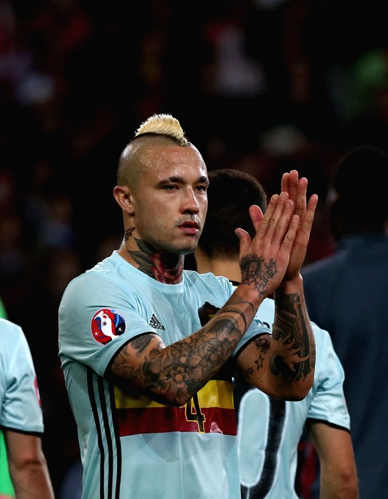 LILLE, July 2, 2016 - Radja Nainggolan of Belgium greets the spectators after the Euro 2016 quarterfinal match between Belgium and Wales in Lille, France, July 1, 2016. Wales won 3-1.