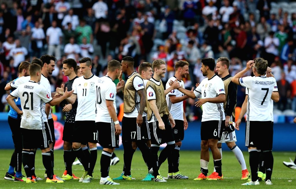 LILLE, June 27, 2016 - Players of Germany celebrate after the Euro 2016 round of 16 football match between Germany and Slovakia in Lille, France, June 26, 2016. Germany won 3-0.