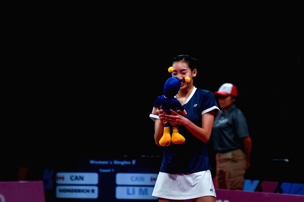 LIMA, Aug. 3, 2019 - Michelle Li of Canada celebrates after winning the women's singles final against her teammate Rachel Honderich at Pan American Games 2019 in Lima, Peru on August 2, 2019. ...