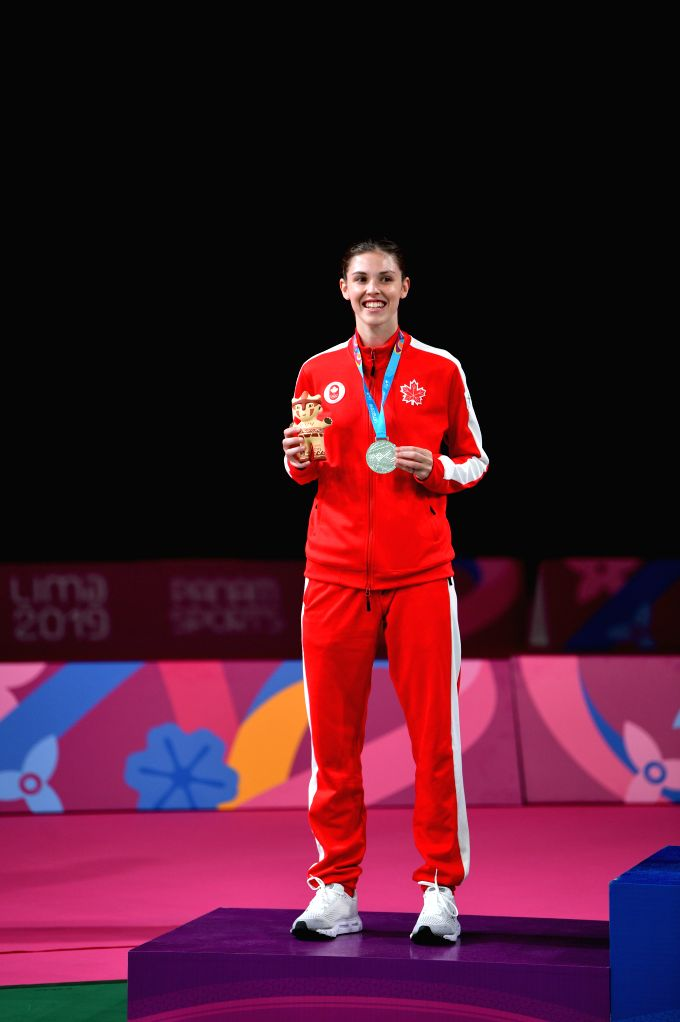 LIMA, Aug. 3, 2019 - Runner-up Rachel Honderich of Canada celebrates on the podium during the awarding ceremony of the women's singles event at Pan American Games 2019 in Lima, Peru on August 2, 2019.