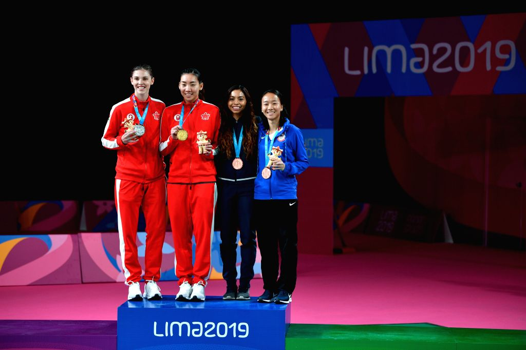 LIMA, Aug. 3, 2019 - Winner Canada's Michelle Li (2nd L), runner-up Rachel Honderich (1st L), third-placed Nikte Sotomayor (2nd, R) of Guatemala and Iris Wang (1st, R) of the United States pose on ...