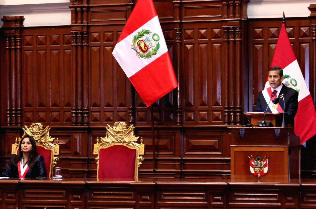 Peru's President Ollanta Humala (R) delivers his annual report to the nation before the Congress in Lima, capital of Peru, on July 28, 2014.