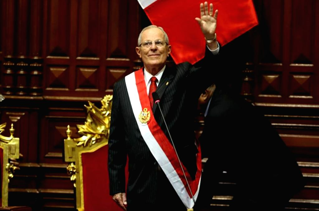LIMA, July 28, 2016 - Peruvian President Pedro Pablo Kuczynski greets the audience during the constitutional presidential power transmission ceremony at the Congress in Lima, capital of Peru, on July ...
