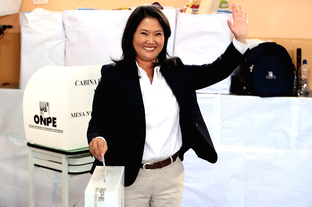 LIMA, June 6, 2016 - Presidential candidate Keiko Fujimori of the Popular Force (FP, for its acronym in Spanish) party casts her vote at a polling station during the second round of the presidential ...