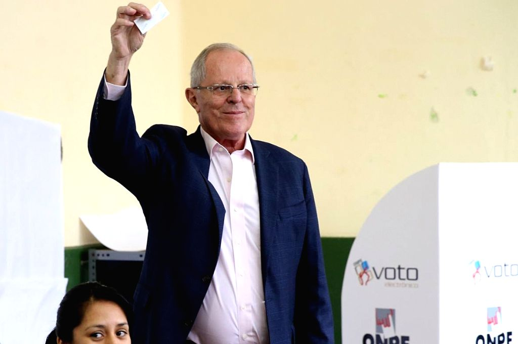 LIMA, June 6, 2016 - Presidential candidate of the Peruvians for Change (PPK, for its acronym in Spanish) party Pedro Pablo Kuczynski casts his vote at a polling station during the second round of ...