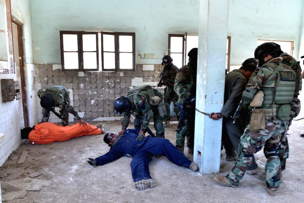 Image provided by Peru's Ministry of Interior show Urban Tactical Direction (SUAT, for its acronym in spanish) of Peru's National Polica agents attending a drill in ...