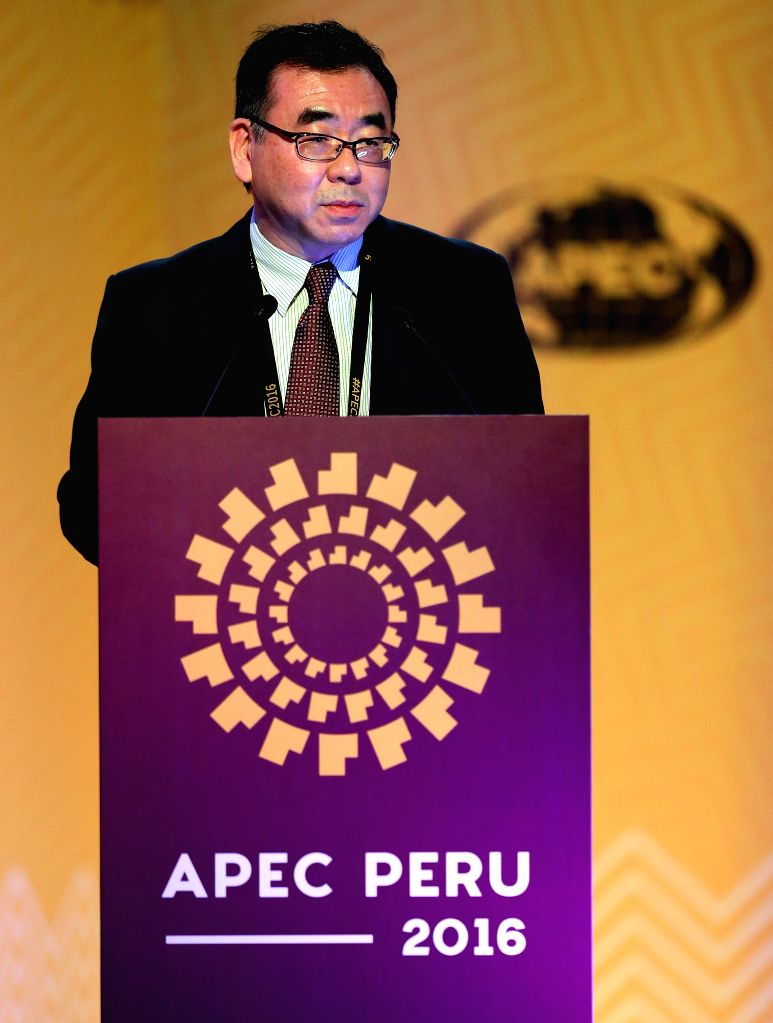 LIMA, Nov. 16, 2016 - Dr. Denis Hew, director of policy support unit of Asia Pacific Economic Cooperation (APEC), addresses a press conference for the 2016 APEC Economic Leaders' Week, at the Los ...