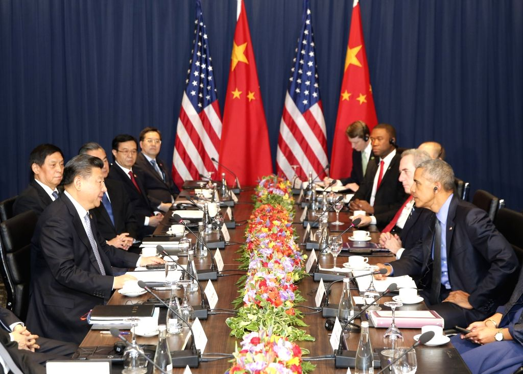 LIMA, Nov. 19, 2016 - Chinese President Xi Jinping meets with his U.S. counterpart Barack Obama in Lima, Peru, Nov. 19, 2016.