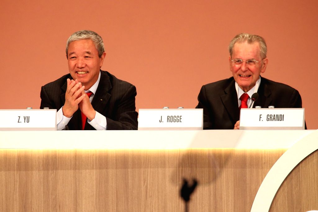LIMA, Sept. 16, 2017 - International Olympic Committee (IOC) Honorary President Jacques Rogge (R) and IOC Vice-President Yu Zaiqing react during the 131st IOC session in Lima, Peru, on Sept. 15, ...
