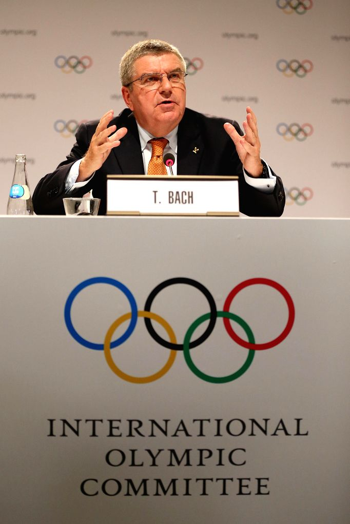 LIMA, Sept. 16, 2017 - International Olympic Committee (IOC) President Thomas Bach attends a press conference after the 131st IOC session in Lima, Peru, on Sept. 15, 2017. The 131st IOC session ...