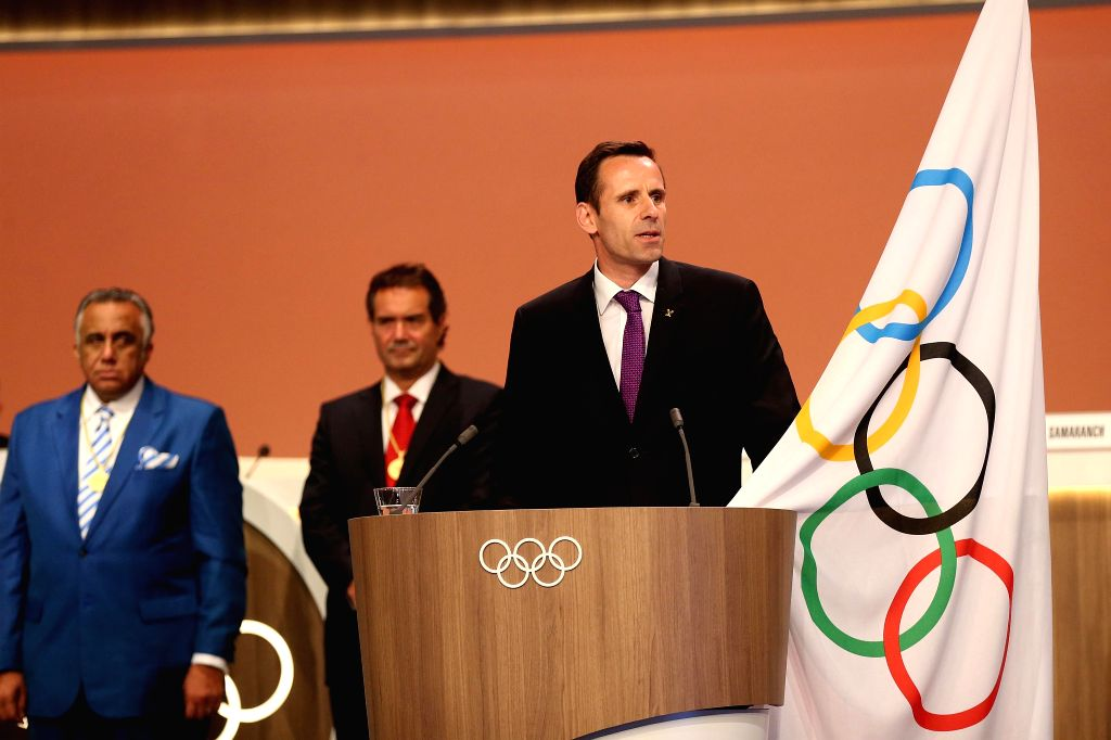 LIMA, Sept. 16, 2017 - New International Olympic Committee (IOC) member and World Rowing Federation President Jean-Christophe Rolland (R) takes his oath during the 131st IOC session in Lima, Peru, on ...