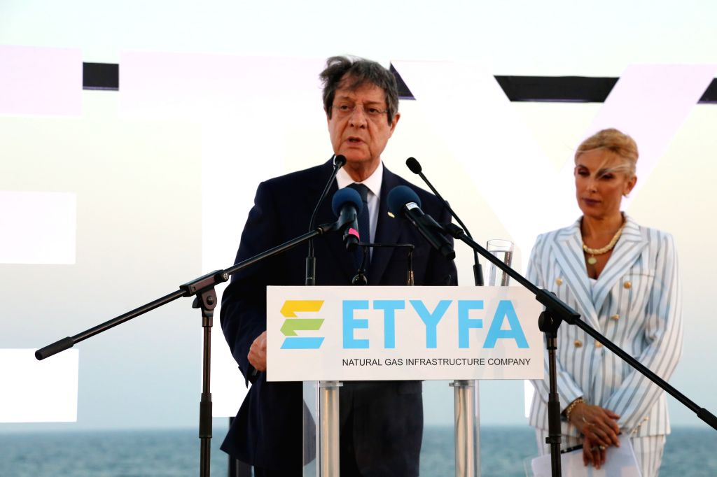 LIMASSOL (CYPRUS), July 9, 2020 Cypriot President Nicos Anastasiades (L) attends a foundation laying ceremony of Liquid Natural Gas (LNG) installations in Limassol, Cyprus, on July 9, ...