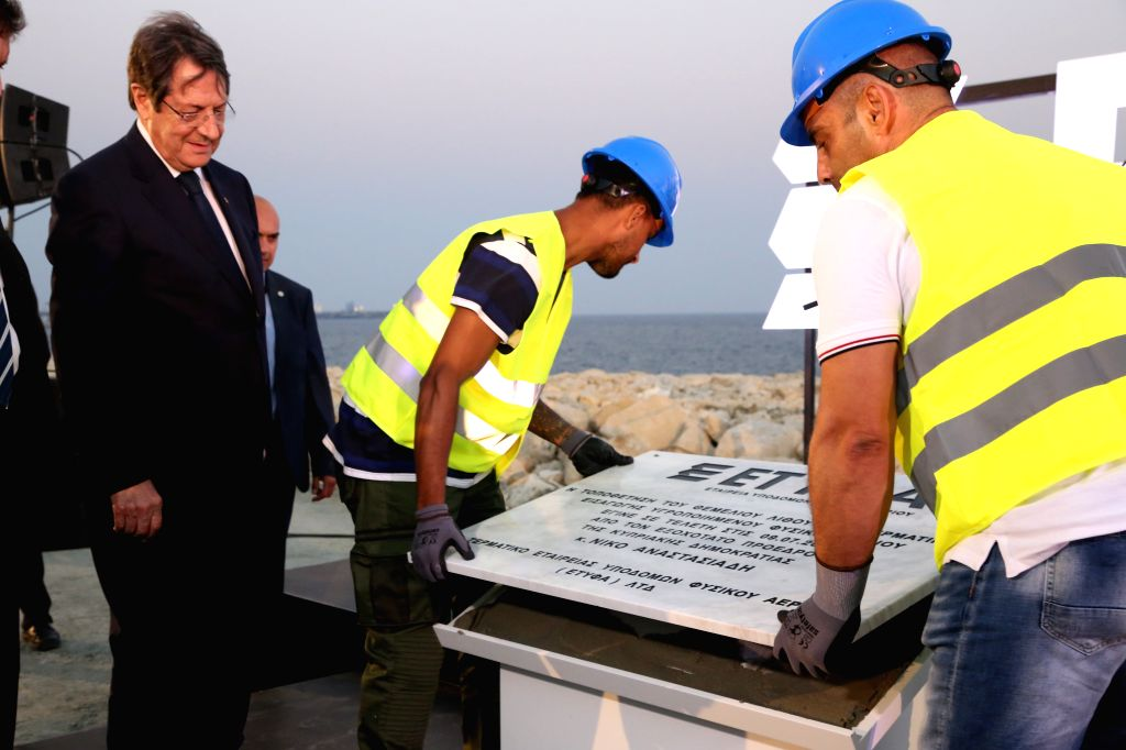 LIMASSOL (CYPRUS), July 9, 2020 Cypriot President Nicos Anastasiades (L, Front) attends a foundation laying ceremony of Liquid Natural Gas (LNG) installations in Limassol, Cyprus, on July ...