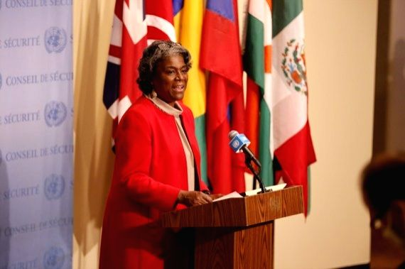 Linda Thomas-Greenfield, the new U.S. ambassador to the United Nations, speaks to journalists at the UN headquarters in New York, on Feb. 25, 2021. Linda Thomas-Greenfield on Thursday said that ...