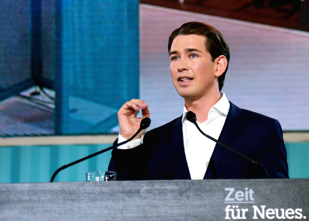 LINZ, July 2, 2017 - Austrian Foreign Minister Sebastian Kurz addresses the national congress of the People's Party in Linz, Austria, July 1, 2017. Thirty-year-old Sebastian Kurz was elected as the ... - Sebastian Kurz
