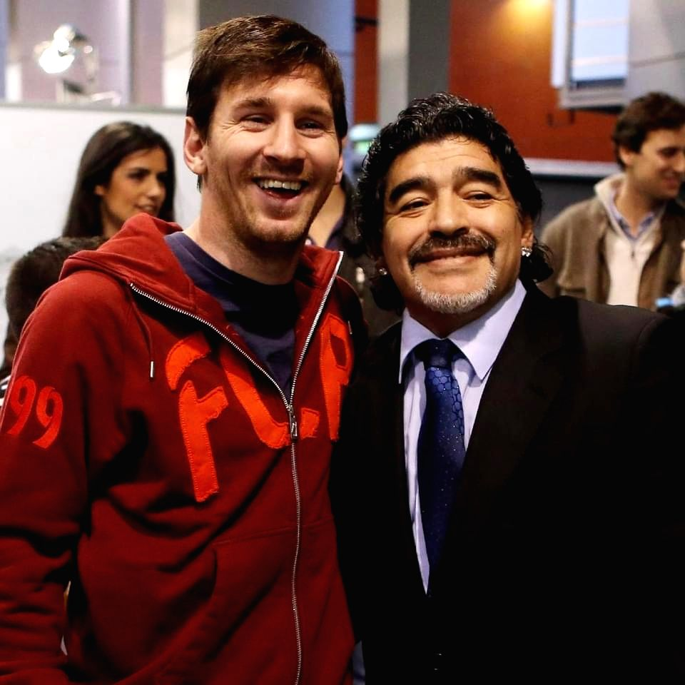Lionel Messi with Diego Maradona.