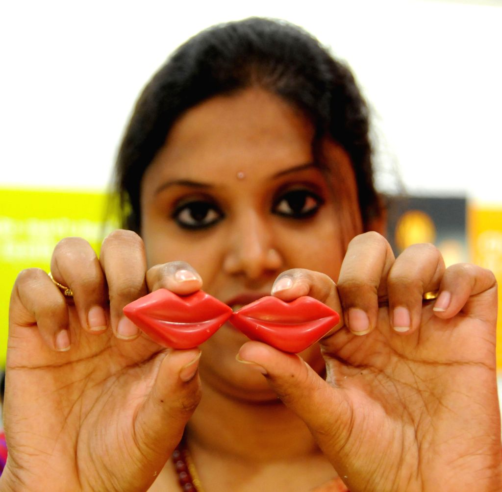 Lips made up of chocolate on display during the launch of a new chocolate store in Bangalore on April 25, 2014.