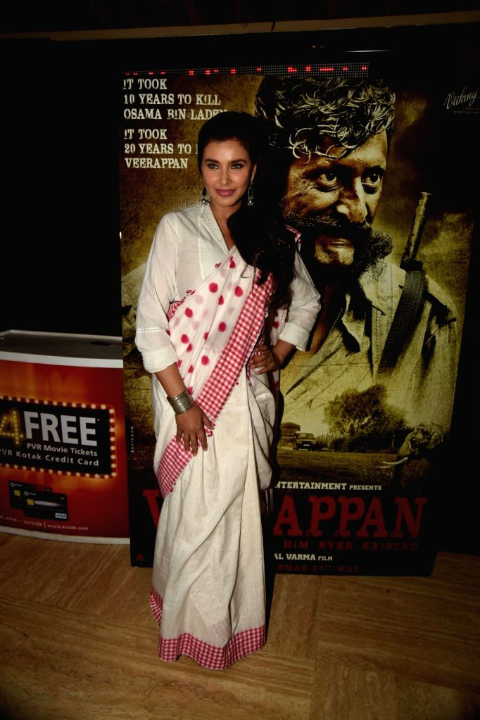 Lisa Ray during the trailer launch of film Veerappan in Mumbai on April 18, 2016.