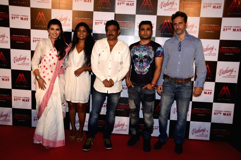 Lisa Ray, Usha Jadhav, Ram Gopal Verma, Sachin Joshi and Anil Thadani during the trailer launch of film Veerappan in Mumbai on April 18, 2016. - Gopal Verma and Sachin Joshi