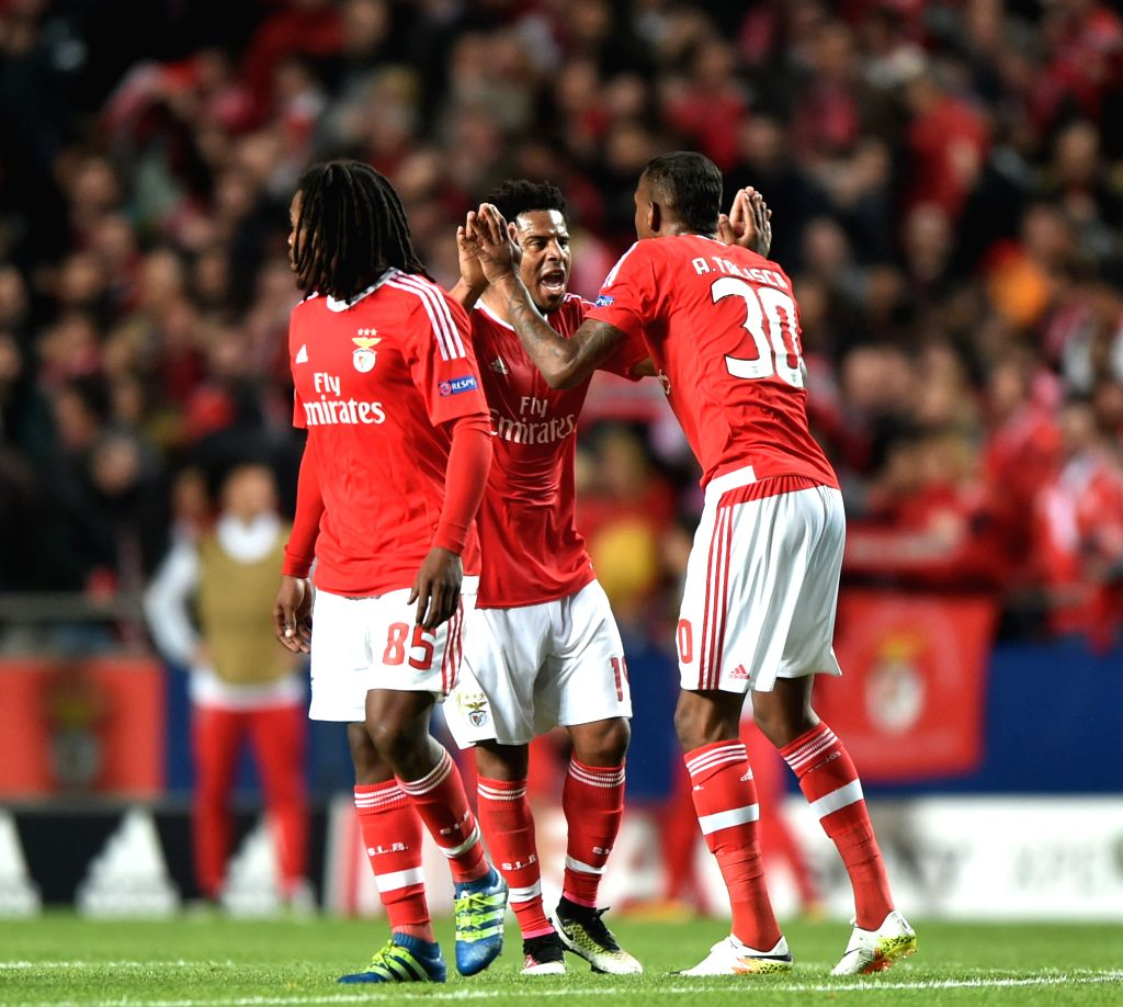 LISBON, April 14, 2016 - SL Benfica's players celebrate after scoring a goal during the second leg of quarterfinals of the Eurpean Champions League soccer match against FC Bayern Munich at the Luz ...