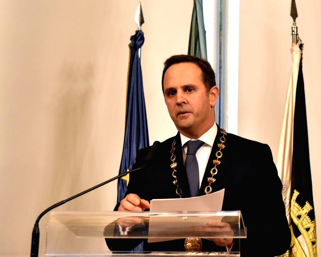 Lisbon's new mayor Fernando Medina delivers a speech during the swearing-in ceremony in Lisbon, Portugal, on April 6, 2015. Economist Fernando Medina was sworn in as ...