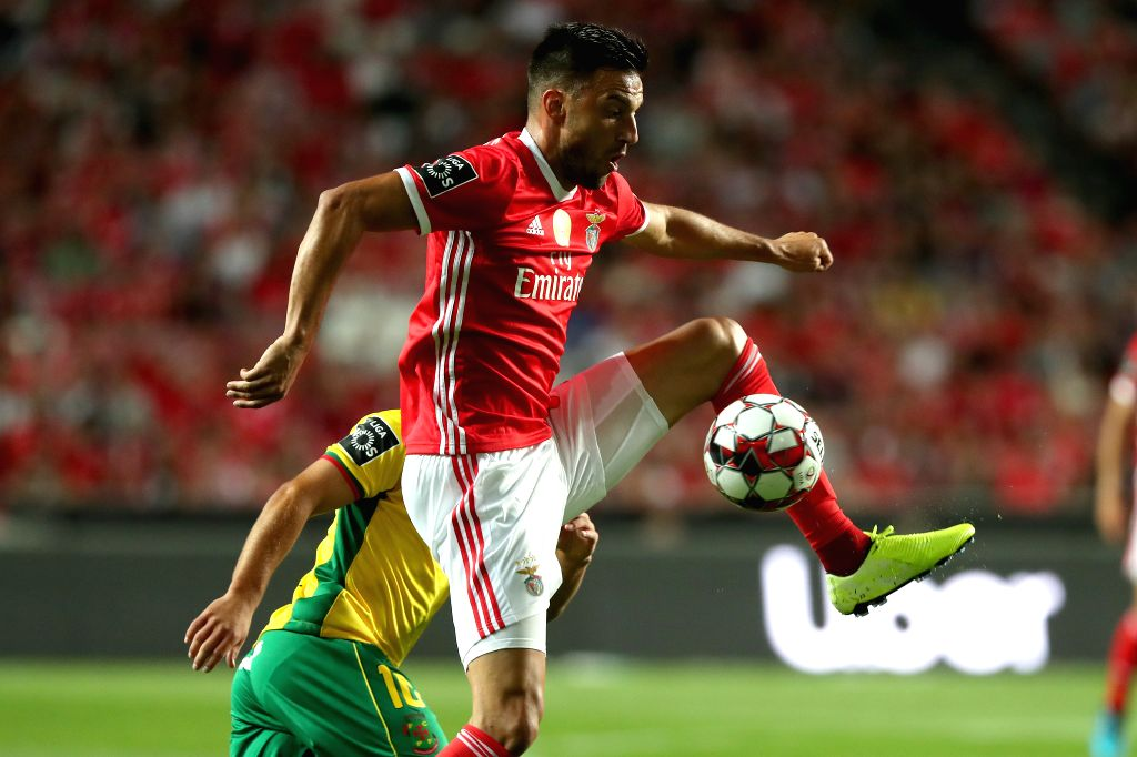 LISBON, Aug. 11, 2019 - Benfica's Andreas Samaris controls the ball during the Portuguese league football match between Benfica and Pacos de Ferreira in Lisbon, Portugal, on Aug. 10, 2019.
