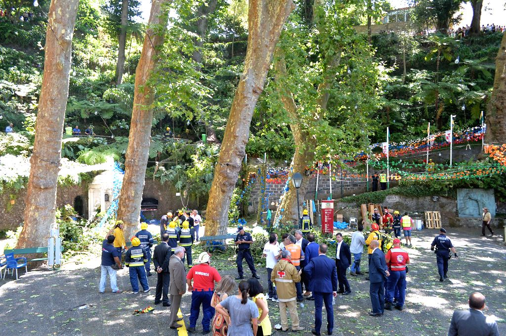 LISBON, Aug. 15, 2017 - Rescuers work at the site where a 200-year-old oak tree collapsed during a religious procession on the Portuguese island of Madeira, Portugal, on Aug. 15, 2017. Thirteen ...
