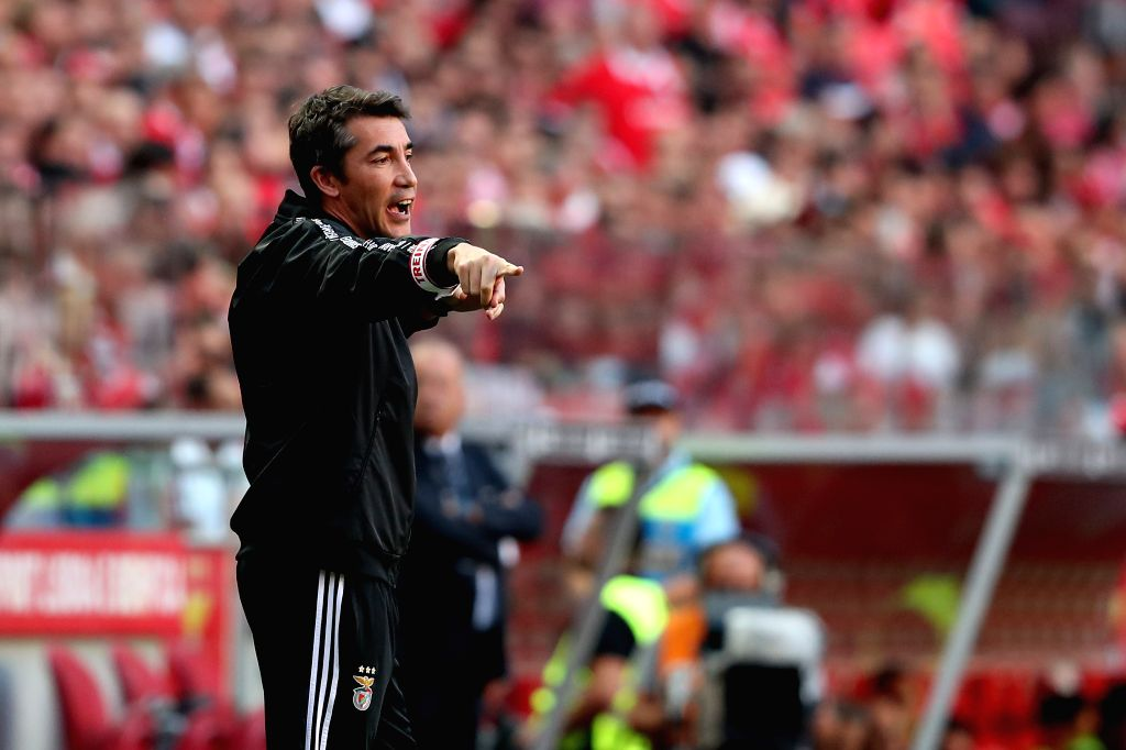 LISBON, Aug. 25, 2019 - Benfica's head coach Bruno Lage gestures during the Portuguese League football match between SL Benfica and FC Porto at the Luz stadium in Lisbon on Aug. 24, 2019.
