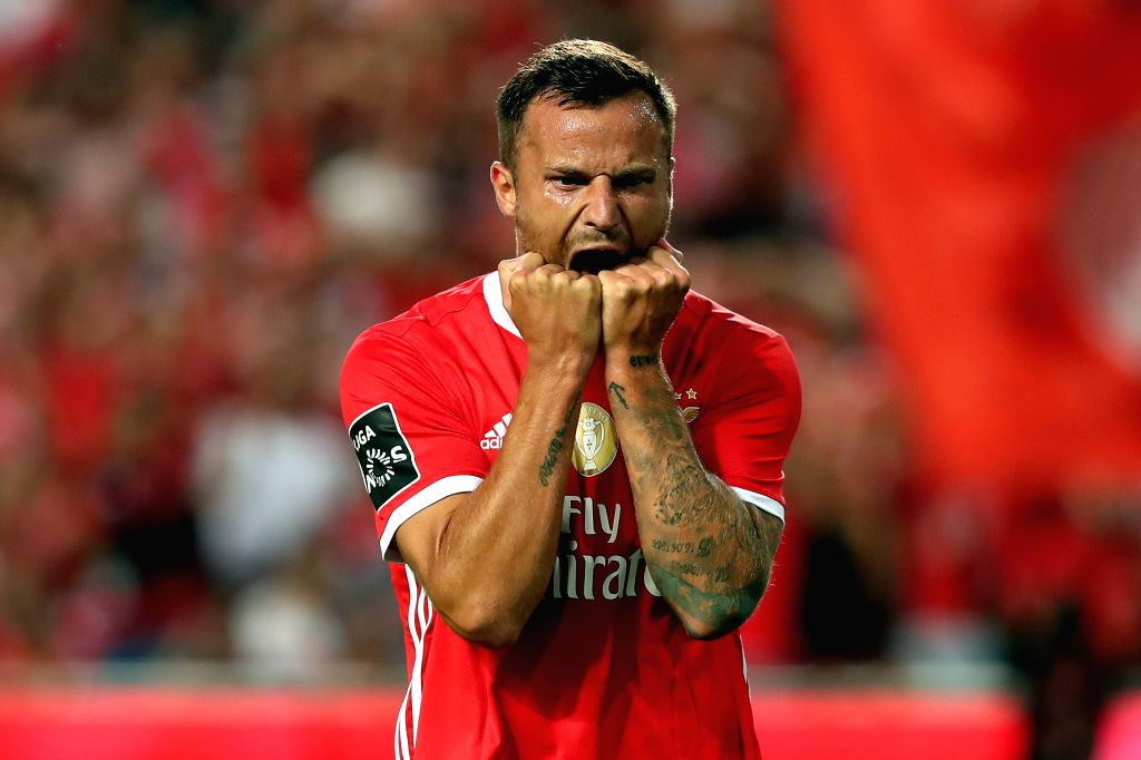 LISBON, Aug. 25, 2019 - Haris Seferovic of SL Benfica reacts during the Portuguese League football match between SL Benfica and FC Porto at the Luz stadium in Lisbon on Aug. 24, 2019.