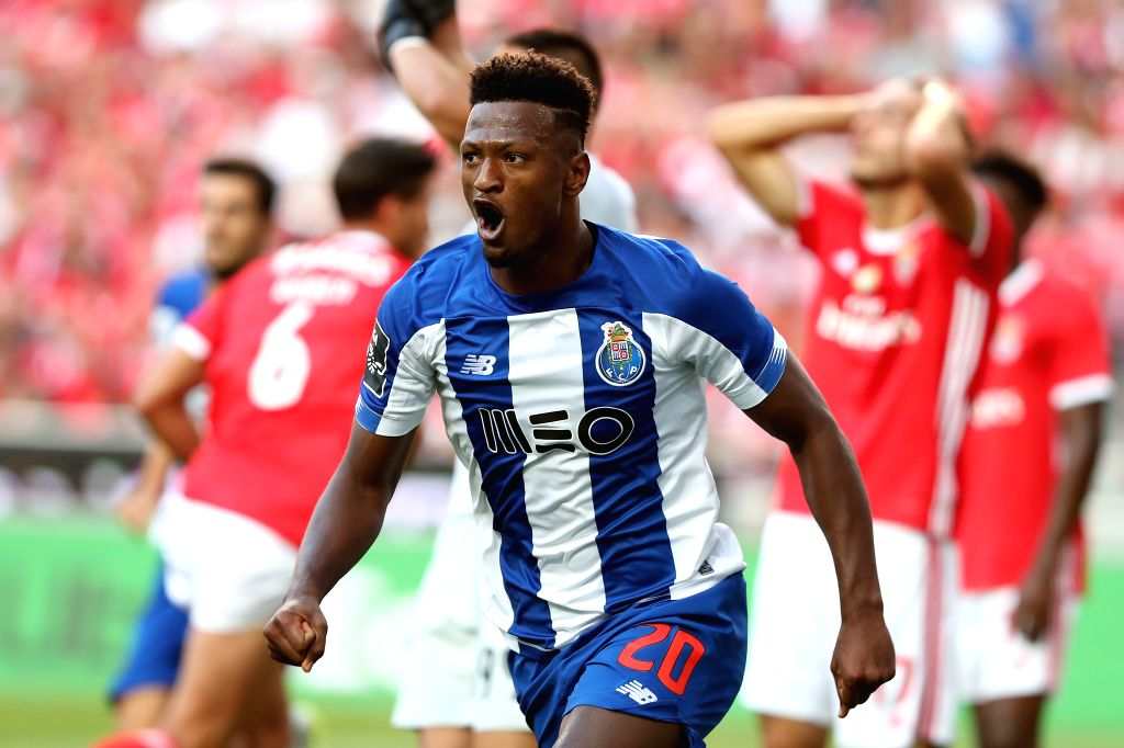 LISBON, Aug. 25, 2019 - Ze Luis of FC Porto celebrates after scoring a goal during the Portuguese League football match between SL Benfica and FC Porto at the Luz stadium in Lisbon on Aug. 24, 2019.