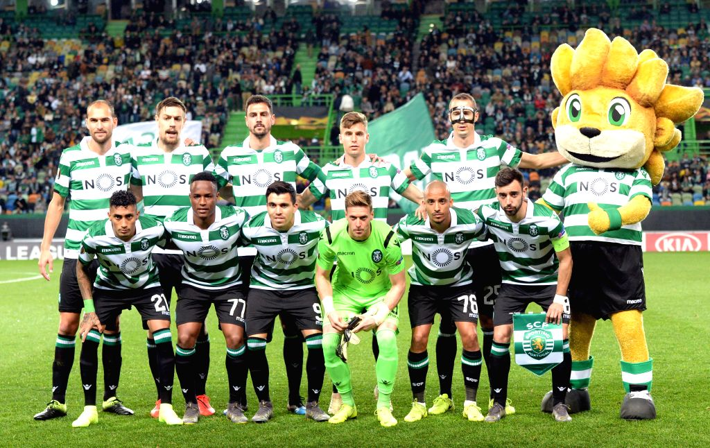 LISBON, Feb. 15, 2019 - Players of Sporting pose for photos before the UEFA Europa League round of 32 first leg soccer match between Sporting CP and Villarreal in Lisbon, Portugal, on Feb. 14, 2019. ...