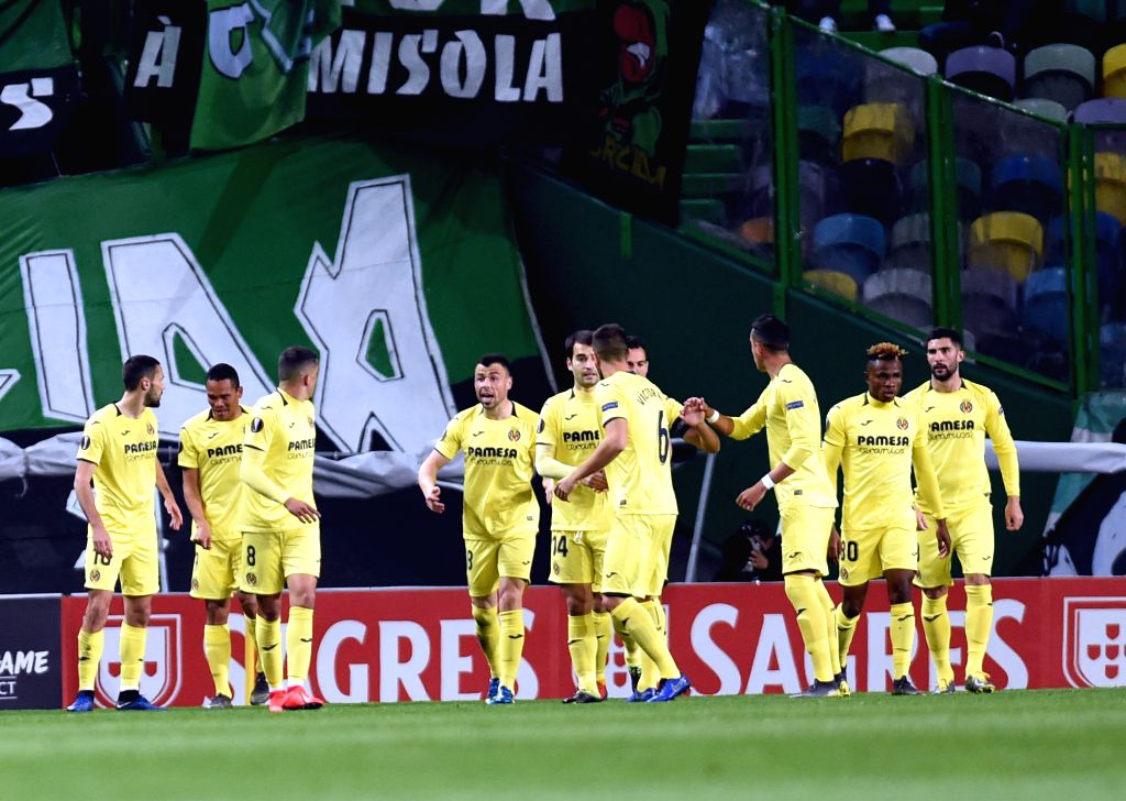 LISBON, Feb. 15, 2019 - Players of Villarreal celebrate after scoring during the UEFA Europa League round of 32 first leg soccer match between Sporting CP and Villarreal in Lisbon, Portugal, on Feb. ...