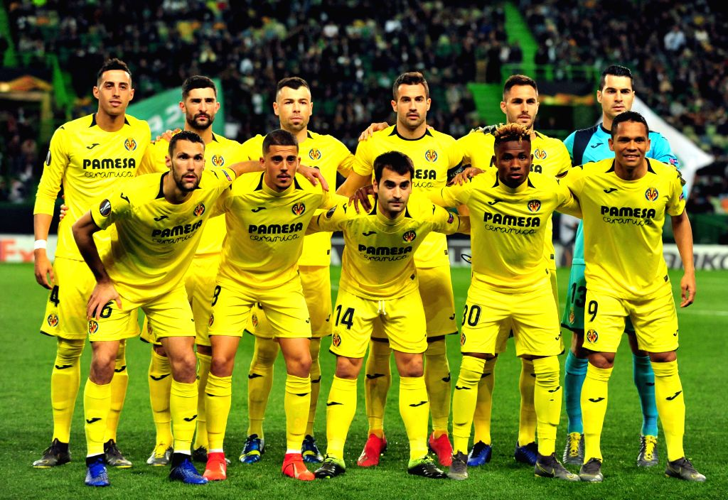 LISBON, Feb. 15, 2019 - Players of Villarreal pose for photos before the UEFA Europa League round of 32 first leg soccer match between Sporting CP and Villarreal in Lisbon, Portugal, on Feb. 14, 2019.