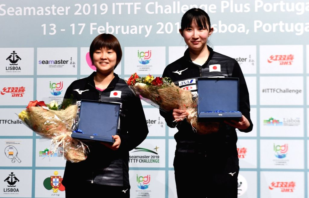 LISBON, Feb. 18, 2019 - Japan's Hayata Hina (R) and her compatriot Hashimoto Honoka pose on the podium after the the women's singles final at the 2019 ITTF Challenge Plus Portugal Open in Lisbon, ...