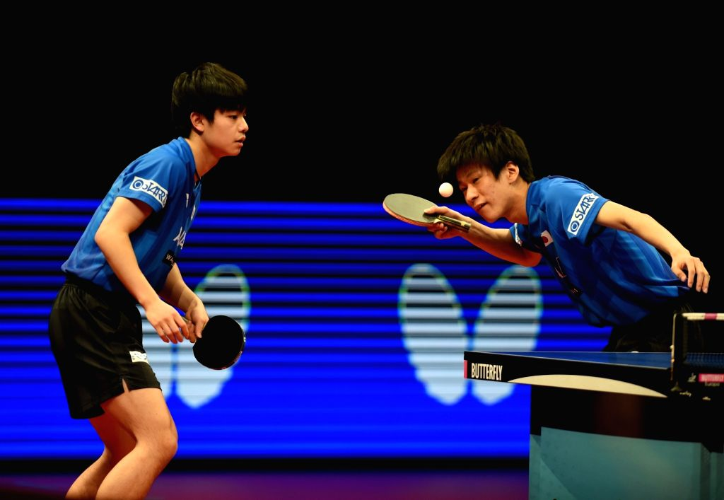 LISBON, Feb. 18, 2019 - Japan's Togami Shunsuke (R)/Uda Yukiya compete during the men's doubles final against China's Cao Wei and Xu Yingbin at the 2019 ITTF Challenge Plus Portugal Open in Lisbon, ...