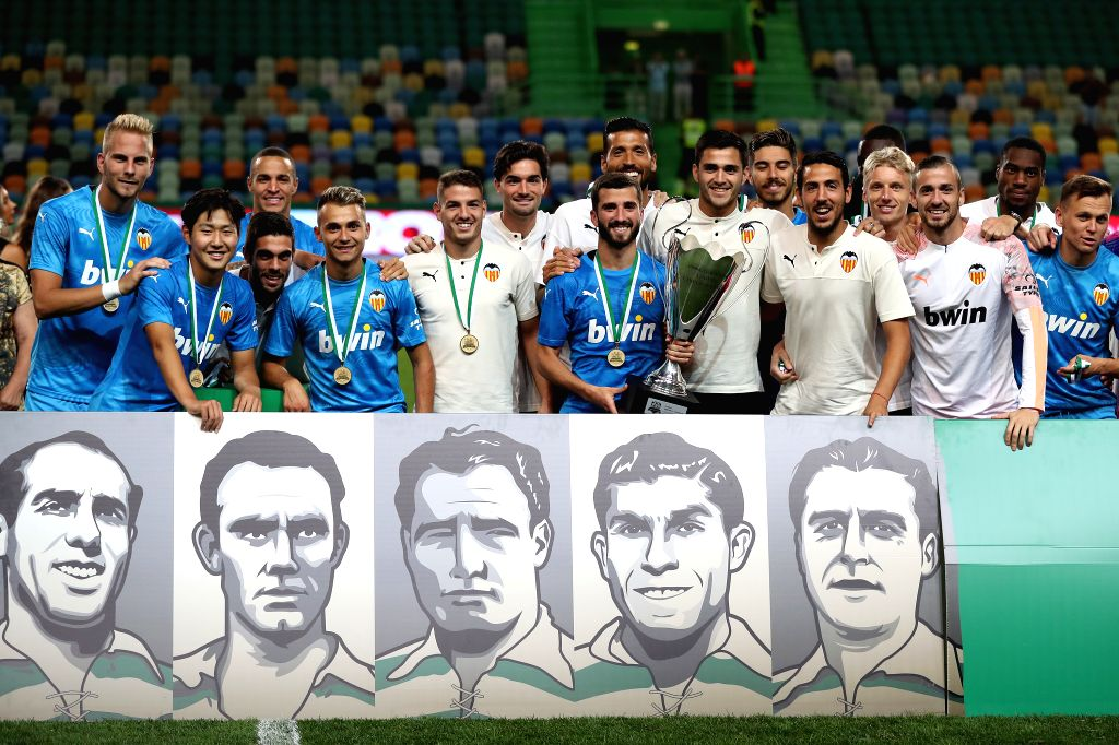 LISBON, July 29, 2019 - Players of Valencia celebrate with their trophy after winning the Five Violins Trophy 2019 final football match against Sporting CP at Alvalade stadium in Lisbon, Portugal on ...