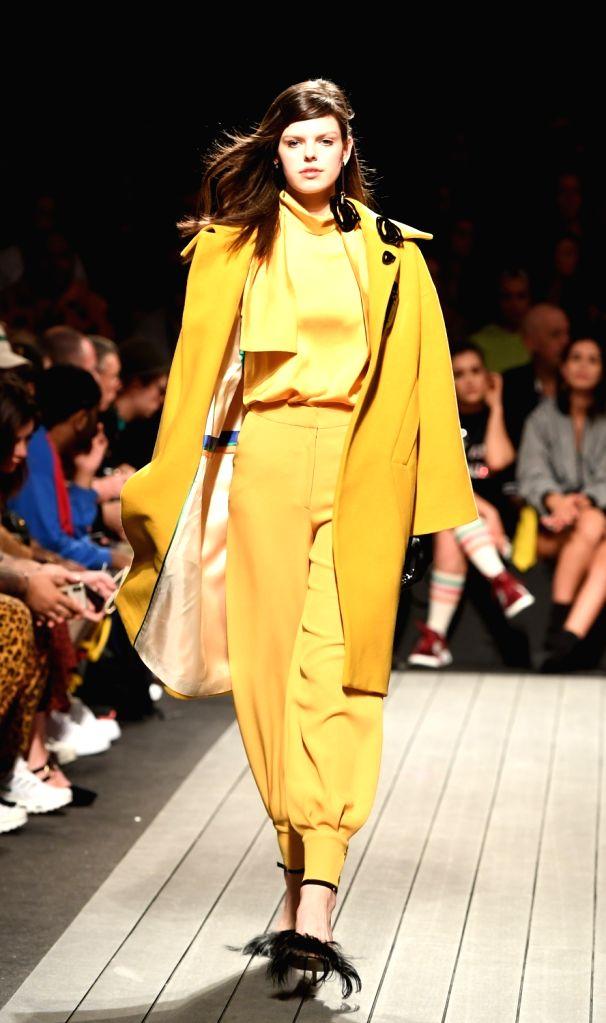LISBON, March 10, 2019 - A model presents a creation of Portuguese designer Carlos Gil during the Lisbon Fashion Week Autumn/Winter 2019/20 in Lisbon, Portugal, March 9, 2019.