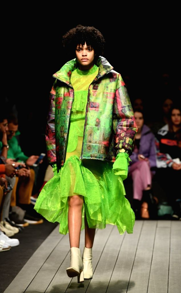 LISBON, March 11, 2019 - A model presents a creation of Portuguese designer Goncalo Peixoto during the Lisbon Fashion Week Autumn/Winter 2019/20 in Lisbon, Portugal, March 10, 2019.