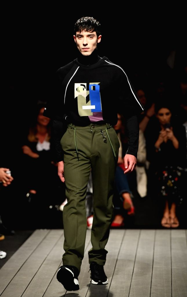 LISBON, March 11, 2019 - A model presents a creation of Portuguese brand Nycole during the Lisbon Fashion Week Autumn/Winter 2019/20 in Lisbon, Portugal, March 10, 2019.