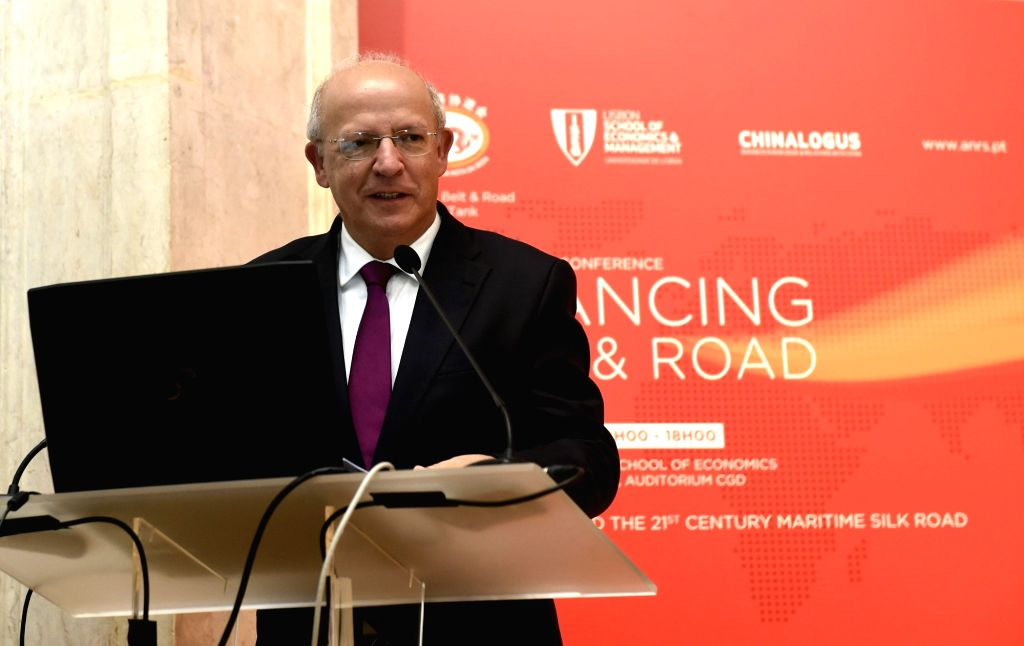 LISBON, March 24, 2018 (Xinhua) -- Portuguese Foreign Minister Augusto Santos Silva speaks on a conference discussing Portugal's participation in the Belt and Road Initiative in Lisbon, capital of Portugal, on March 23, 2018. (Xinhua/Zhang Liyun/IANS - Augusto Santos Silva